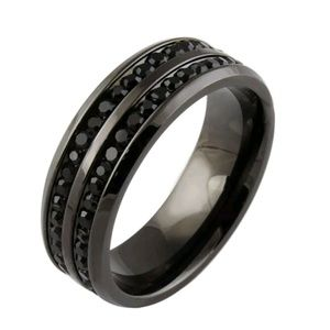 Other - Black Sapphire Stainless Steel Ring